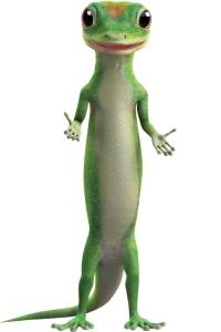 a green CGI gecko